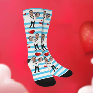 Custom Funky Gift Heart Print Stripe Face Socks