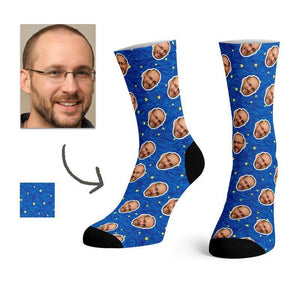Custom Love Super Dad Face Socks -