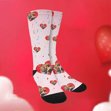 Load image into Gallery viewer, Custom Funky Gift Heart Print Face Socks-Pink