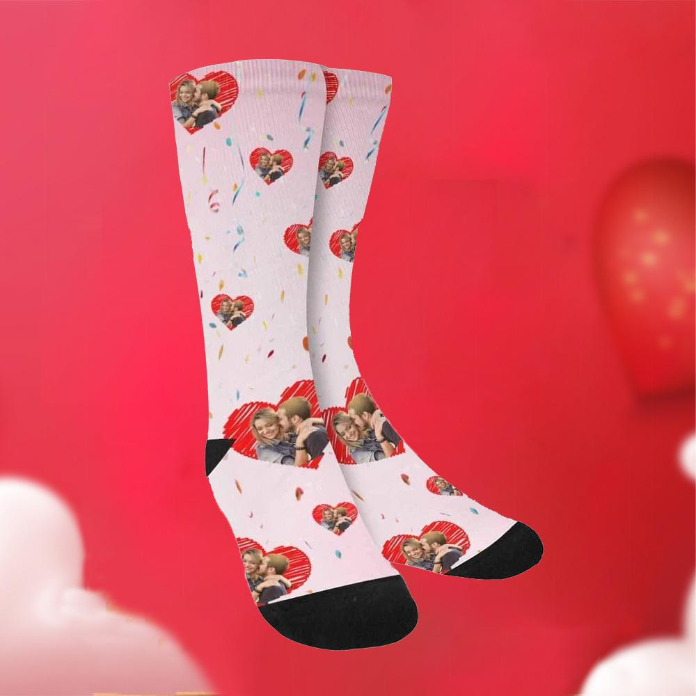 Custom Funky Gift Heart Print Face Socks-Pink
