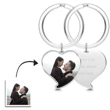 Load image into Gallery viewer, Engraved Heart Tag Photo Key Chain