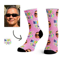 Load image into Gallery viewer, Custom Birthday Stripe Face Socks -
