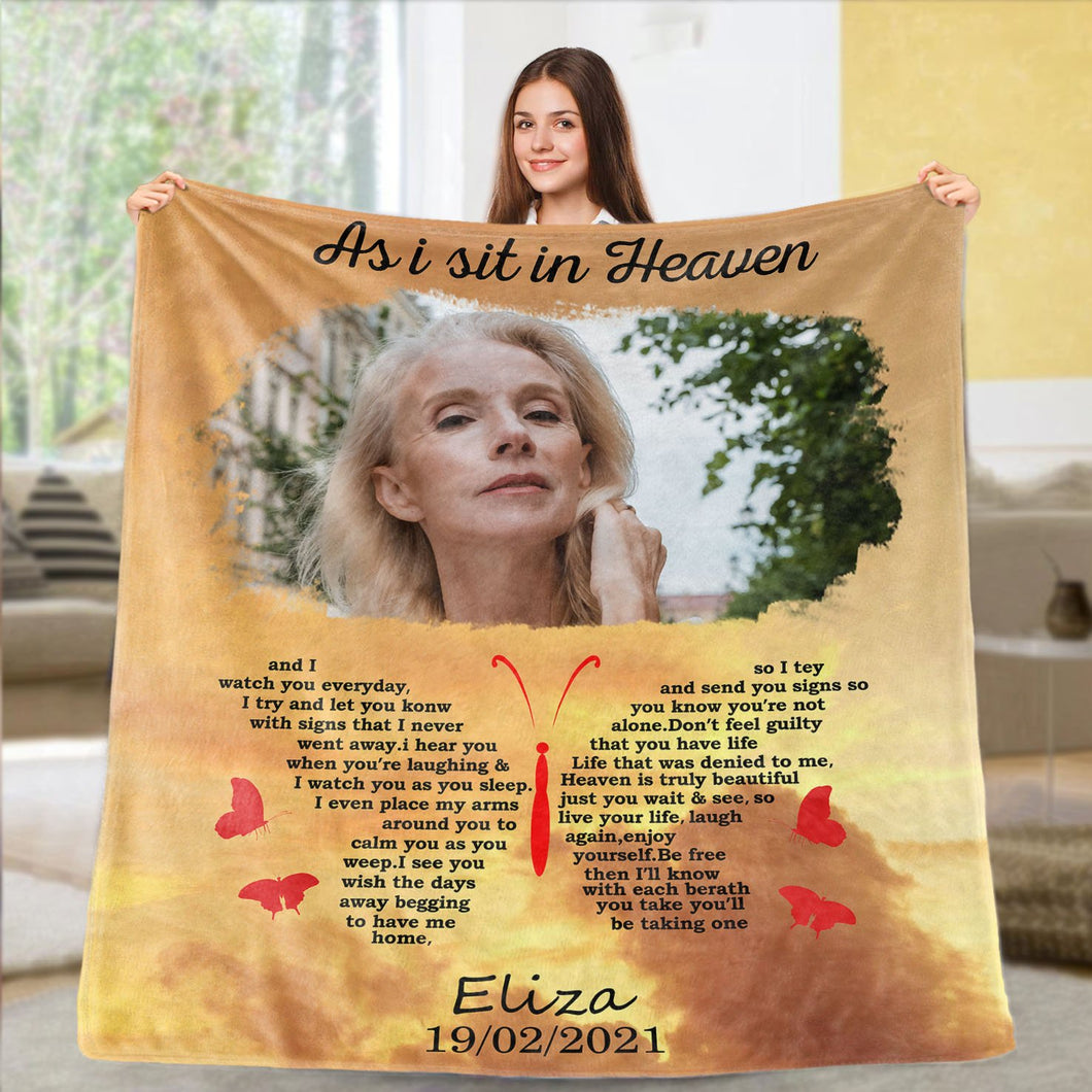 Custom Photo and Name Blanket Fleece Blanket, Mother's Day Surprise Gift, As I sit in Heaven