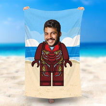 Load image into Gallery viewer, Custom Photo Beach Towel, Quick Dry Bath Towel, Swimming Towel, Lego-Style beach towel, Ironman