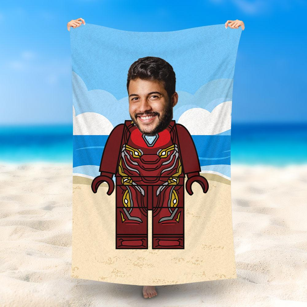 Custom Photo Beach Towel, Quick Dry Bath Towel, Swimming Towel, Lego-Style beach towel, Ironman