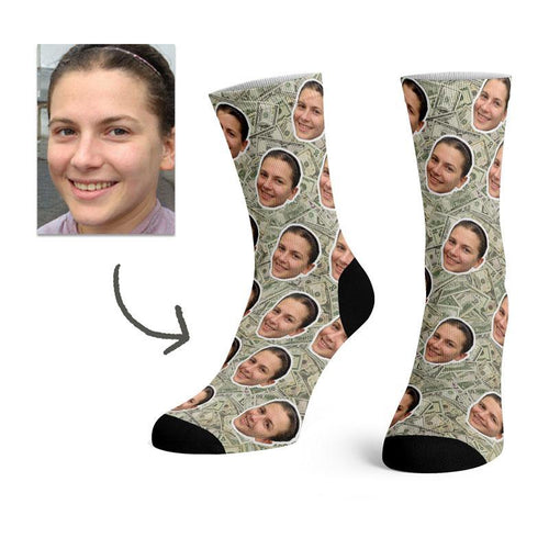 Custom 100 Dollar Bill Face Socks -