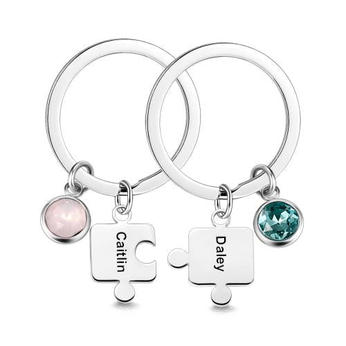 Engraved Birthstone Couple's Puzzle Key Chain Set