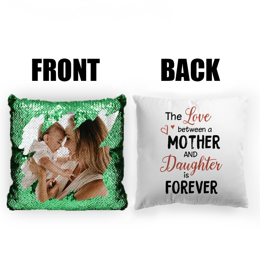 Custom Photo Magic Sequins Pillow Multicolor Shiny Mermaid Pillow, Double-side printed, The Love between Mother and Daughter, 16
