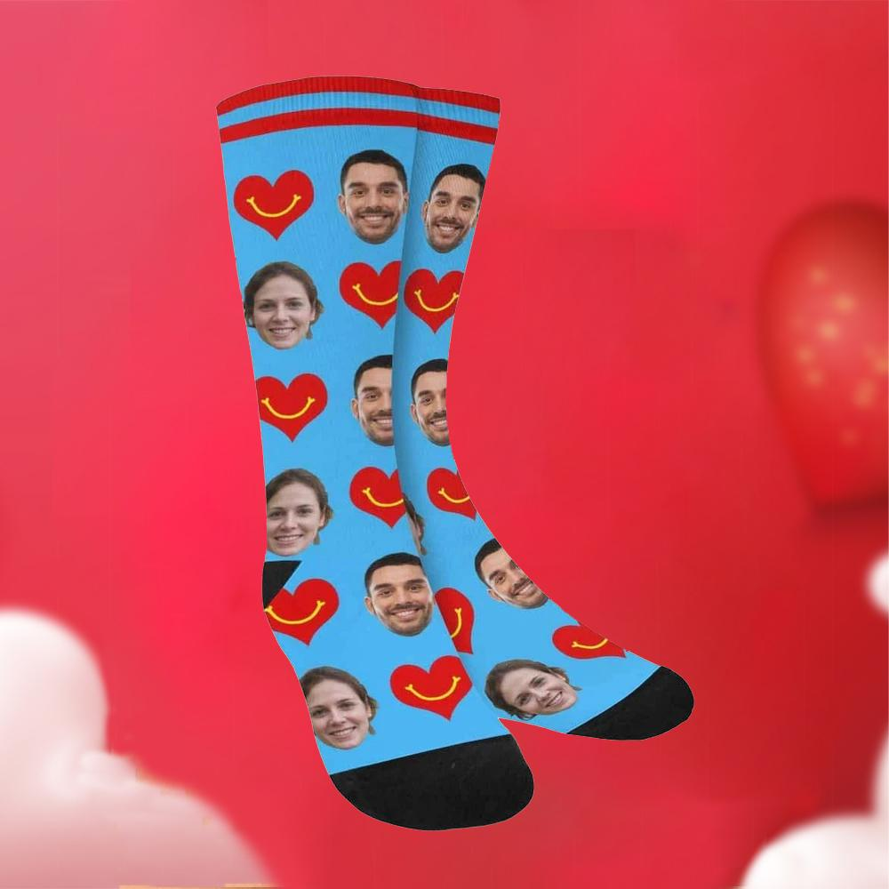 Custom Funky Gift Heart & Smile Face Socks