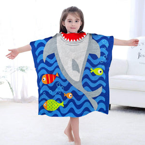 Hooded Towel for Kids Swimsuit Cover Up for Beach, Pool, Bath, Poncho Towel, Wearable Beach Towel, Big Shark