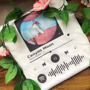 Custom Spotify Code Style T-shirt Album Photo and Code
