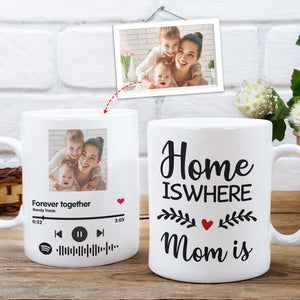 Custom Photo White Mug, Happy Mother's Day, with Spotify Album Code, Home is where mom is
