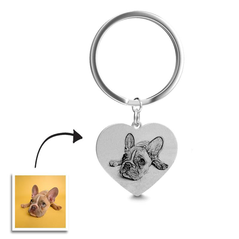 Heart Photo Engraved Tag Key Chain Stainless Steel