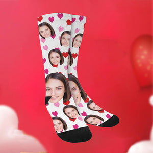 Custom Heart Print Face Socks-White