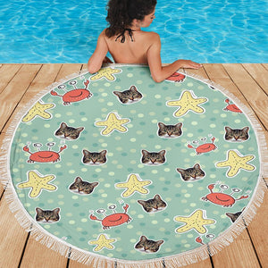 Custom Photo Round Beach Towel with edging, Quick Dry Bath Towel, Swimming Towel, lovely crab prints, create your own beach towel