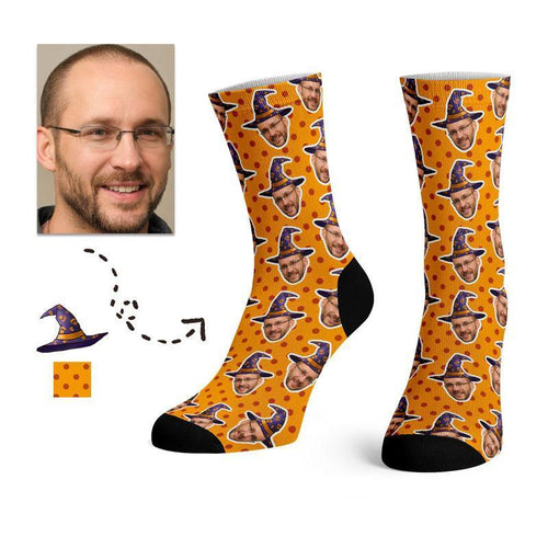 Custom Halloween Witch Hat Face Socks -