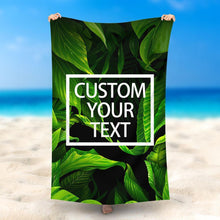 Load image into Gallery viewer, Custom Text Beach Towel, Quick Dry Bath Towel, Swimming Towel, Green Jungle