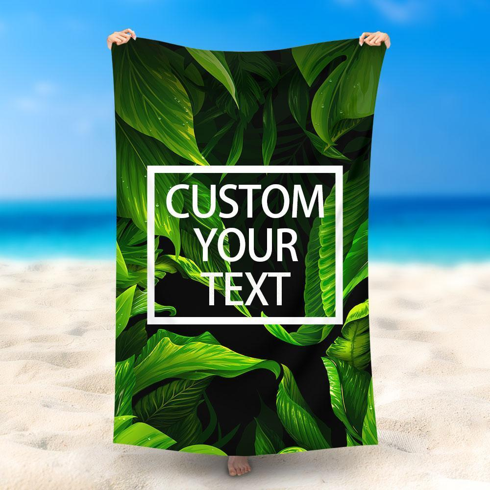 Custom Text Beach Towel, Quick Dry Bath Towel, Swimming Towel, Green Jungle