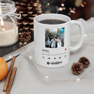 Custom Spotify Album Cover Photo Personalized Song Music Code Mug,Magic Heat Color Changing Coffee Mugs, Anniversary Gift, Gift for Boyfriend / Girlfriend, Valentine's Day Gift