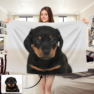 Custom Dog/Pet Photo Blankets Feelce Blanket - faceonboxer