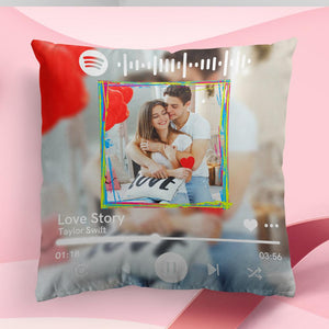 "Custom Spotify Photo Throw Pillow Valentine's Day Gift 15.75""*15.75"""