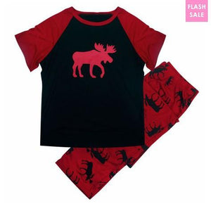 Family Matching Christmas Red Deer Pajamas Set
