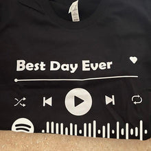 Load image into Gallery viewer, Custom Spotify Code Style T-shirt Album Name and Code