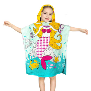 Hooded Towel for Kids Swimsuit Cover Up for Beach, Pool, Bath, Poncho Towel, Wearable Beach Towel, Mermaid with Blond