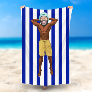 Custom Photo Beach Towel, Quick Dry Bath Towel, Swimming Towel, Muscle Guy in Yellow Shorts