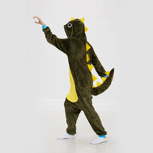 Kigurumi Pajamas Thorn Dragon Onesie Green Flannel Winter Sleepwear For Adult With Zipper Back Costume
