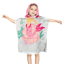 Load image into Gallery viewer, Hooded Towel for Kids Swimsuit Cover Up for Beach, Pool, Bath, Poncho Towel, Wearable Beach Towel, Pink Mermaid