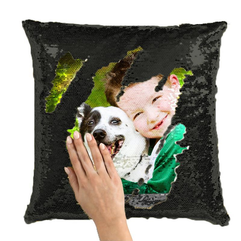 Custom Sequin Pillow Cute Kids Pet Photo Magic Sequins Pillow Multicolor Shiny Gift 15.75