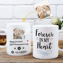 Load image into Gallery viewer, Custom Photo White Mug, Happy Mother's Day, with Spotify Album Code, perfect gift for Mother's Day, Forever in my heart