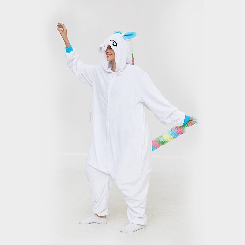 Kigurumi Pajamas Unicorn White Onesie  Flannel Winter Sleepwear For Adult With Zipper Back Costume