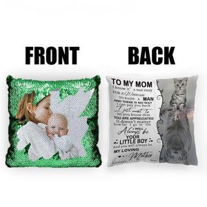 "Custom Photo Magic Sequins Pillow Multicolor Shiny Mermaid Pillow, Double-side printed, To My Mom, 16""x16""(40cmx40cm)"
