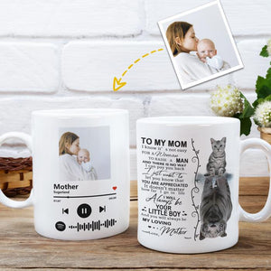 Custom Photo White Mug, Happy Mother's Day, with Spotify Album Code, I will always be your little boy