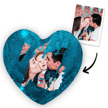 "Load image into Gallery viewer, Custom Photo Magic Sequins Pillow Multicolor Shiny Mermaid Heart Shape Pillow Cover And Inner Cushion 15.75"" * 13.75"""