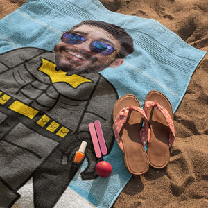 Custom Photo Beach Towel, Quick Dry Bath Towel, Swimming Towel, Lego-Style beach towel, Batman