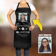 Load image into Gallery viewer, Custom Spotify Album Code Kitchen Cooking Apron Black/White