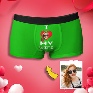 "Custom Face ""I LOVE MY WIFE"" Men's Boxer Briefs"