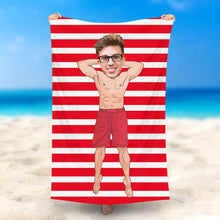 Load image into Gallery viewer, Custom Photo Beach Towel, Quick Dry Bath Towel, Swimming Towel, Man in red swimming boxers