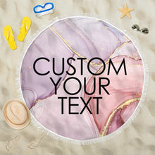 Load image into Gallery viewer, Custom text Round Beach Towel with edging, Quick Dry Bath Towel, Swimming Towel, dreamlike pink beach towel