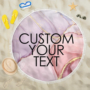 Custom text Round Beach Towel with edging, Quick Dry Bath Towel, Swimming Towel, dreamlike pink beach towel