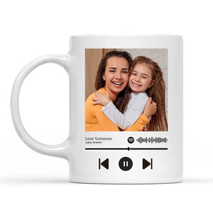 Custom Photo White Mug, Happy First Mother's Day, with Spotify Album Code, perfect gift for Mother's Day, Lovely mug