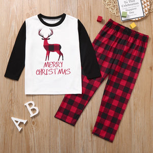 Christmas Red Elk Plaid Family Matching Pajamas Set
