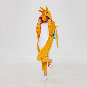 Kigurumi Pajamas Fire Dragon Onesie Flannel Winter Sleepwear For Adult With Zipper Back Costume
