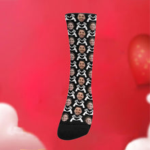 "Load image into Gallery viewer, Custom Funky Gift ""Hand Heart"" Face Socks"