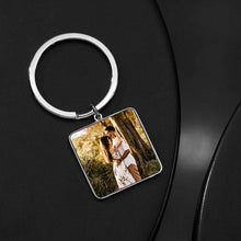 Load image into Gallery viewer, Engraved Square Tag Photo Key Chain