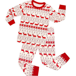 Family Matching Christmas Deer and Snowflake Pajamas Set