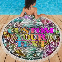 Load image into Gallery viewer, Custom text Round Beach Towel with edging, Quick Dry Bath Towel, Swimming Towel, Colorful beach towel